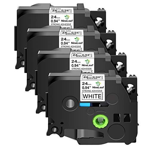 NineLeaf 4PK Extra Strength Black on White 24mm 1''/0.94'' Label Tape Compatible for Brother TZeS251 TZe-S251 TZ-S251 TZS251 P-Touch PT-D600 Label Maker