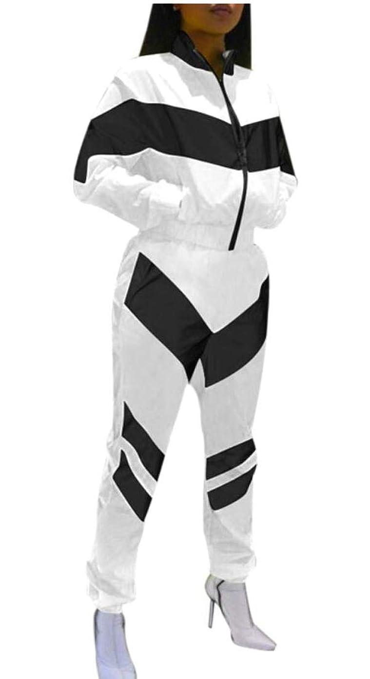 ラッチネット前兆女性カラーブロックロングスリーブ作物トップパンツトラックス2ピース衣装