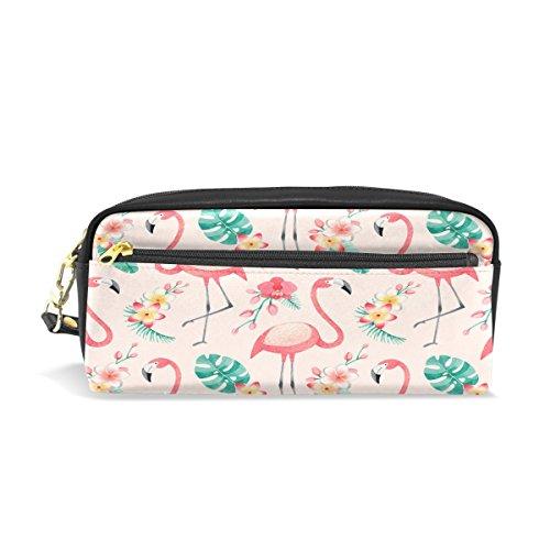 Trousse, Rose Flamant rose Imprimé floral Voyage Maquillage Pouch Grande capacité étanche Cuir 2 compartiments pour filles garçons femmes Hommes