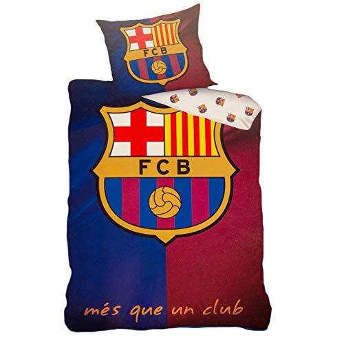 FCB FC Barcelona - Juego de Funda de edredón Individual de algodón, Talla UK