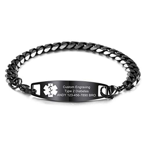 Jewelora Made Personalised Free Engraved Medical Emergency Bracelets for Men Women Alert ID Bangle for Adults Stainless Steel Medical Emergency Bracelets Unisex (8.5, Black 1)