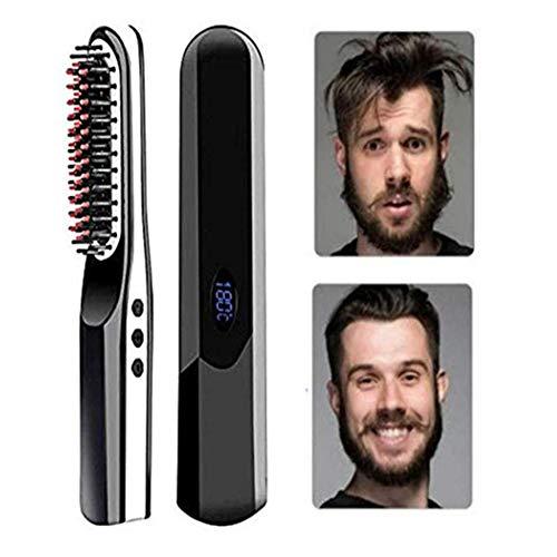 Sans fil Hommes Rapide Barbe Lisseur Styler Peigne LCD Sans Fil USB Céramique Cheveux Lissage Brosse Outil De Styling Rapide