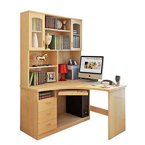 JiaQi L-Shaped Computer Desk,Ecke Im Home Office Mit Bücherregalen,Moderne Design Mit Shelves and Schubladen Massivholz Laptop-Tisch-b