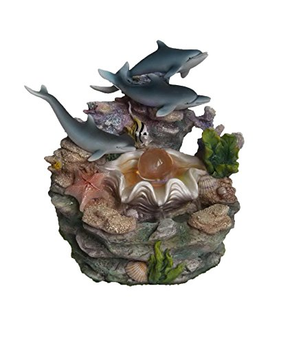 SINTECHNO SNF12031-2 Aristic Sculptural Dolphins and Crystal on Shell Tabletop Water Fountain