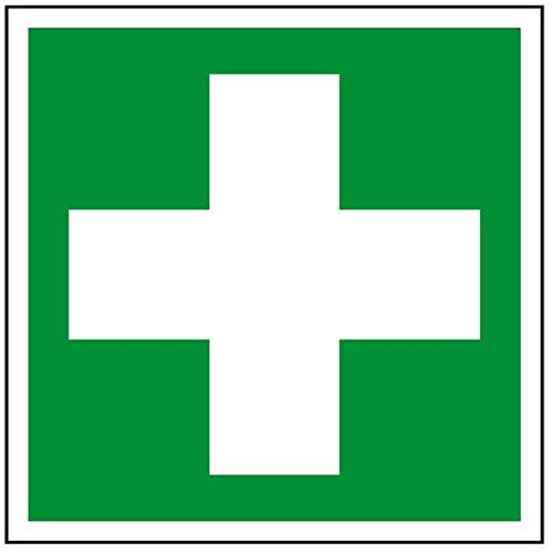 LEMAX® Aufkleber Rettungszeichen Erste Hilfe gemäß ASR A1.3/ DIN 7010, Folie selbstklebend 100 x 100 mm (Verbandskasten, Notfall, Unfall) praxisbewährt, wetterfest