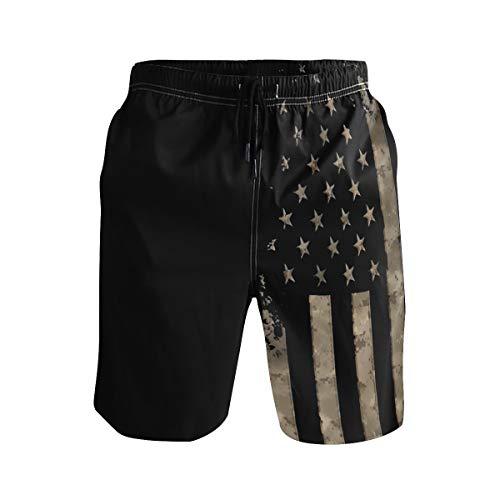 Jist Zovi Black American Flag Men's Summer Surf Swim Trunks Quick Dry Pants with Mesh Lining and Pockets(L)