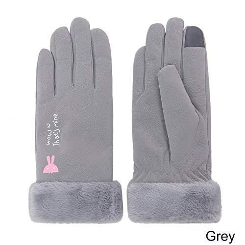 Neuankömmling Winterhandschuhe Frauen Touchscreen Wasserdicht im Freien verdicken warme Handschuhe weibliche elastische Fäustlinge-Grey