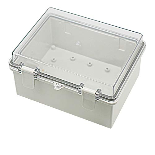 Zulkit Junction Box ABS Plastic Dustproof Waterproof IP65 Electrical Boxes Hinged Shell Outdoor Universal Project Enclosure Grey Clear Transparent Cover With Lock 8.7 x 6.7 x 4.3 inch (220x170x110 mm)