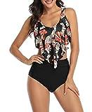 Acramy Bikini de cintura alta para mujer, diseño vintage de flores B-black flowers M