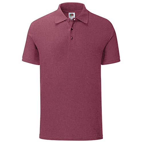 Fruit of the Loom 5er Pack Iconic Polo Shirt Herren Poloshirt Mehrpack Größe S - 3XL, Größe:L, Farbe:Burgund meliert