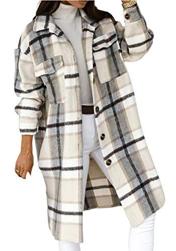 CawBing Frauen Plaid Langarm Button Down Kragen Übergroße Wolle Mantel Frühling Langes Hemd Jacke Shacket Grau S