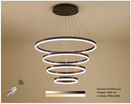 Dimmable avec télécommande Couleur de la lumière et luminosité Réglable Suspension LED Lustre moderne rond 4 anneaux Design Lumière Salon Salle à manger Appartement Hall Aluminium acrylique Éclairage