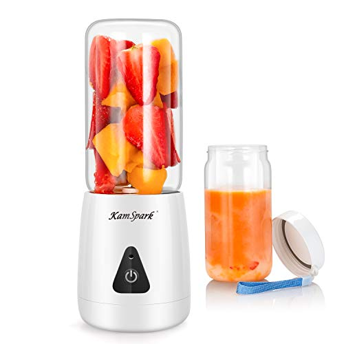 Portable Blender-KamSpark Smoothie Blender USB Rechargeable Battery Operated 2000mAh, Mini Blender (12oz), 6 Blades, Glass Cup BPA Free Food Grade, Detachable Base 20000 RPM, 65 Watts Personal Blender On The Go