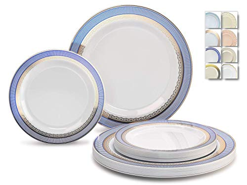 """ OCCASIONS"" 120 Plates Pack,(60 Guests) Heavyweight Premium Wedding Party Disposable Plastic Plates Set -60 x 10.5'' Dinner + 60 x 7.5'' Salad/Dessert(Louvre Blue/Gold)"