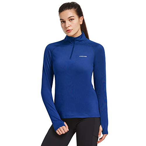 Ogeenier Women's Microfleece Long Sleeve Running Shirt with Thumbholes Zipper Pockets 1/4 Zip Pullover