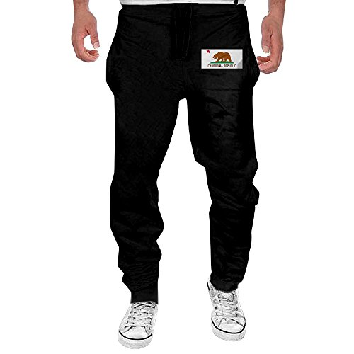 NVKJEGGTTT Men's California Republic Flag Black Sweatpant Sport Casul Pant X-Large