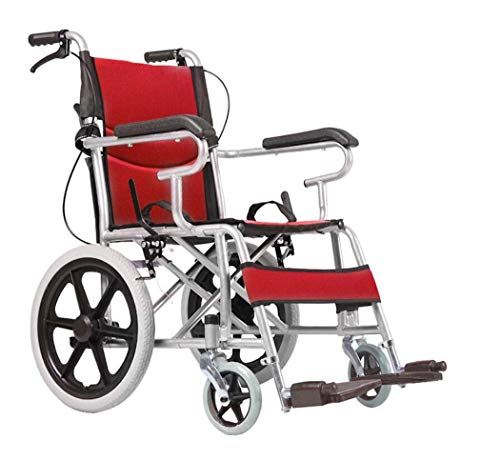 Sale!! GJX Folding Portable Manual Wheelchair, Steel Tube Travel Portable Test Wheelchair, Outdoor, ...