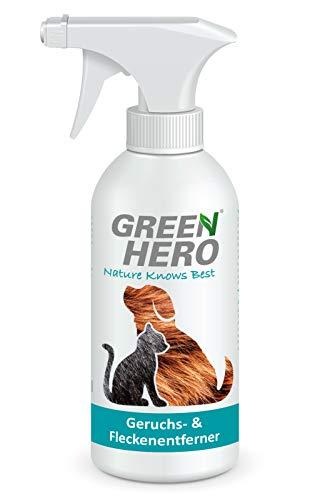 Green Hero Geruchsentferner und Fleckenentferner gegen Tiergerüche Biologischer Enzymreiniger als gebrauchsfertige Lösung gegen Katzenurin Hundeurin KOT Tiergerüche 500ml