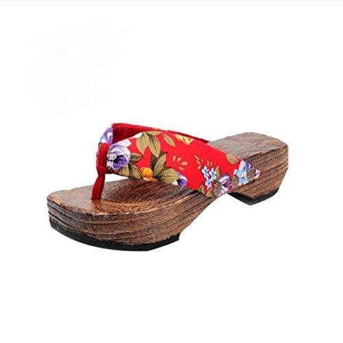 Sandalias para Mujer Yesmile Zapatos Casual de Mujer Sandalias de Verano para Fiesta y Boda Zapatos de Plataforma Sandalias de Madera Zueco Zapatillas de Japón (Rojo, 40)