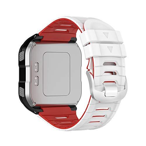 KINOEHOO Cinturino Compatibile con Garmin Forerunner 920XT Cinturini di Ricambio in Silicone.(bianco rosso)