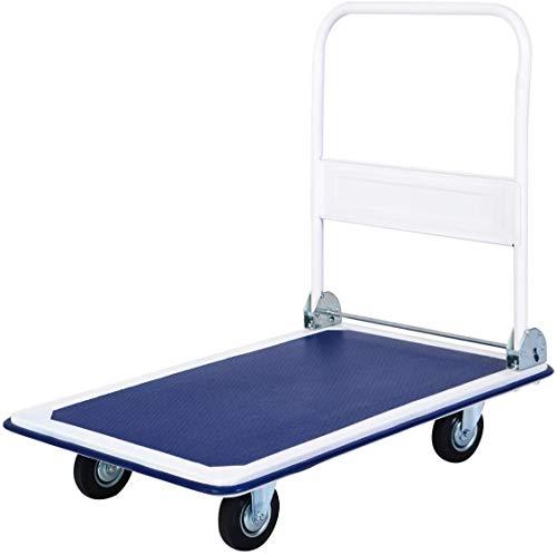 "Juggernaut Carts Heavy Duty 660 lb. Capacity Folding Platform Cart, 11.02"" Height, 23.2"" Width, 35.4"" Length, 660 Pounds Load Capacity - FPTC3623-BLUE"