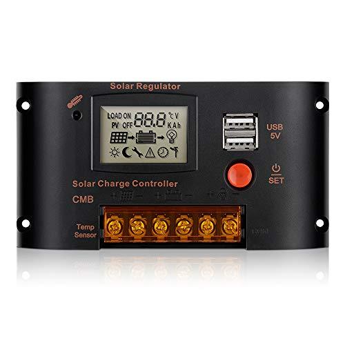 Sunix Controlador de Carga Solar 20A,...