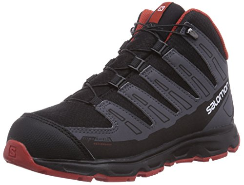 SALOMON Trail Synapse Mid CSWP, Botas de Senderismo Unisex niños, Black Dark Cloud Moab Orange, 32 EU