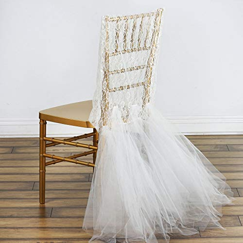 Efavormart Ivory Bridal Wedding Party Lace and Tulle Tutu Chair Covers Dinning Event Slipcover for Banquet Catering