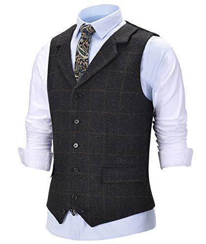 Chaleco vintage de lana de tweed para hombre, chaleco de trabajo de muesca a cuadros solapa de ajuste delgado para novios de boda (parte trasera no satinada)