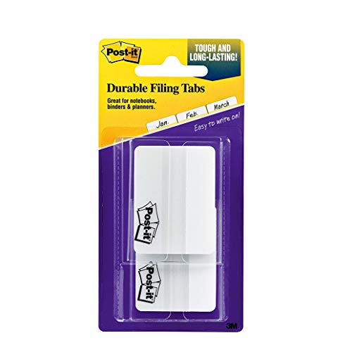 Post-it Tabs, 2 in, Solid, White, 25 Tabs/On-The-Go Dispenser, 2 Dispensers/Pack (686F-50WH)