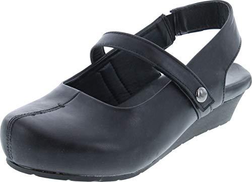 Pierre Dumas Women's Lexy-1 Vegan Leather Mary Jane Slingback Strap Wedge Clogs,Black,9