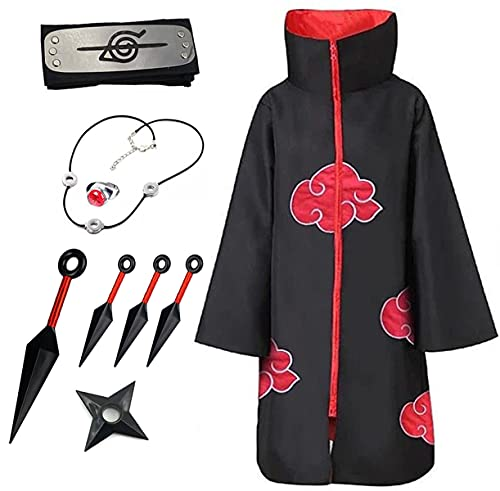 Akatsuki - Disfraz unisex con diadema y anillo para cosplay con bordado, color negro