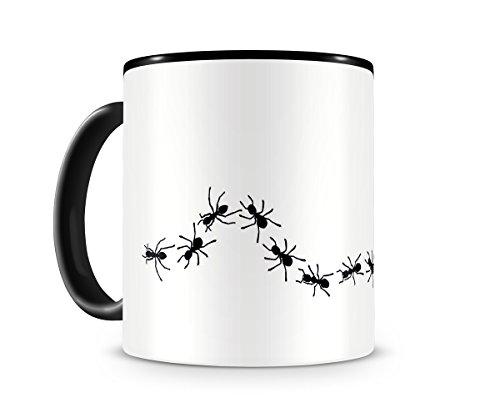 Samunshi® Ameisenstrasse Ameisen Tasse Kaffeetasse Teetasse Kaffeepott Kaffeebecher Becher H:95mm/D:82mm schwarz