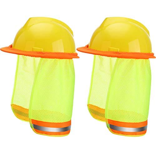 2 Piezas Parasol de Sombrero Duro Escudo de Cuello de Sol con Alta Visibilidad para Cascos de Seguridad de Ala Completa Estándar Construcción y Paisajismo