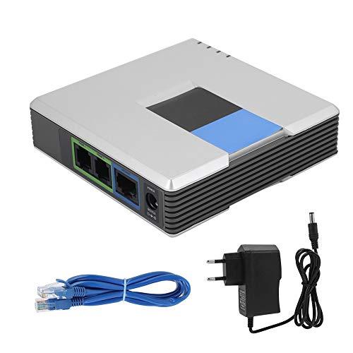 Socobeta VoIP-Telefonadapter VoIP-Gateway Internet-Telefon 2-Port-Adapter SIP-RJ45-Kabel für PAP2T(EU-Stecker)