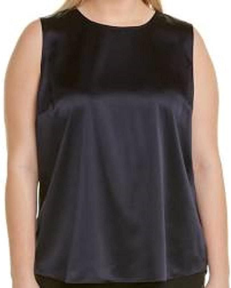 Eileen Fisher Plus Black Stretch Silk Charmeuse Round Neck Tank Size 3X MSRP188