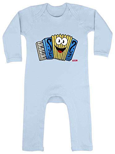 Hariz - Pijama para beb, diseo divertido con acorden y tarjeta de regalo azul Dosel azul claro. Talla:3-6 meses