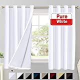 Flamingo P 100% Blackout Curtains for Living Room Double Layer Faux Silk Room Darkening Thermal Insulated Curtains Energy Saving Grommet Window Treatment Panels (Pure White, 52 by 54-inch)