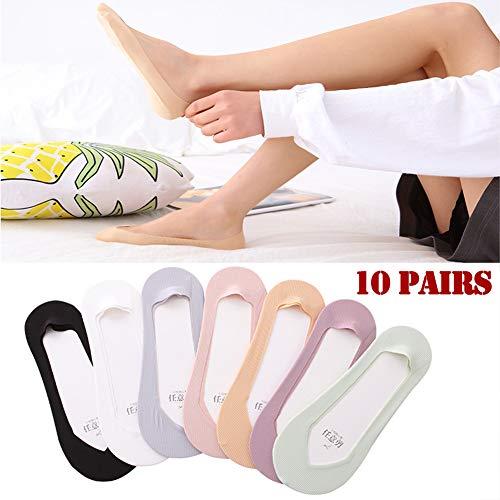 Jjwwhh 10 pares de calcetines invisibles, calcetines invisibles, de corte ultra bajo, antideslizantes, para verano, barco, zapatos de verano, mocasines y zapatillas, gris