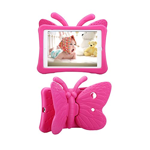Tading iPad 8th / 7th Generation Case for Kids, 2020 iPad 10.2 Case for Kids, Cute Butterfly Kid Proof EVA Foam Tablet Protective Cover with Stand for iPad 10.2 2020 2019 and iPad Air 2019 - Hot Pink