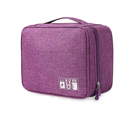 SoloTravel Electronic Gadget Travel Organizer Bag for All Small Gadgets, HDD, Power Bank, USB Cables etc (Purple Color)