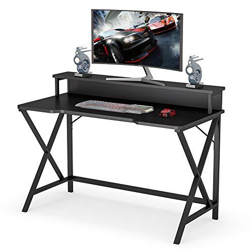 Tribesigns computertisch, Tisch mit Monitorständer für Gaming, ergonomischer Schreibtisch,schwarz,Holz