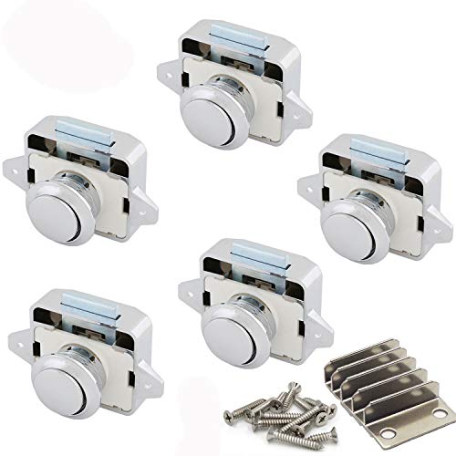 Push Lock, Taste Catch Lock 15-18mm Möbelschlosser Schloss Möbelgriff Camping Caravan Boot (5pcs White/Nickel)