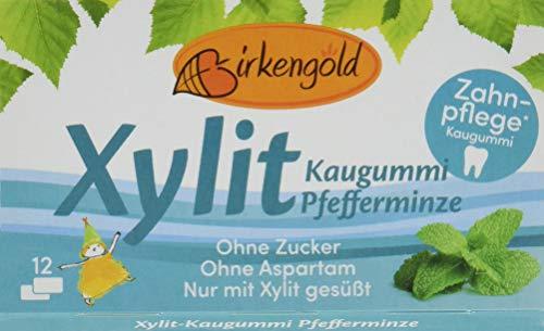 Birkengold Xylit Kaugummi Pfefferminze, 8er Pack | Zahnpflege-Kaugummi | zuckerfrei | 70 % Xylit | vegan | ohne Titandioxid