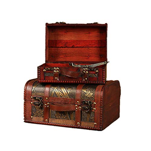 Maletas Almacenamiento joyería con hermosa modelo del narciso for la decoración Decoración de boda juego de 2 Caja de joyería maleta de madera decorativa para un aspecto vintage auténtico y sensación.