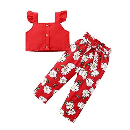 YWLINK Conjuntos NiñA,Top Sin Mangas Manga Corta con Camiseta Volantes Honda Y Color SóLido + PantalóN Rojo Estampado con Lazo Conjunto De 2 Piezas Lindo Vestido De Fiesta Regalo De CumpleañOs