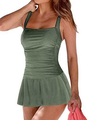 Acelitt Women's Plus Size Tummy Control One Piece Swimdress Swimsuit Padded Push up Bathing Suit Swimwear Ruched Skirt Swimming Dress Costume with Briefs Green XL