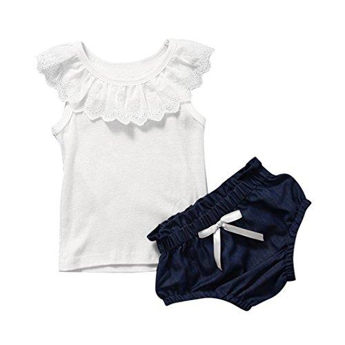 OverDose bebés niñas bebés niños Ropa sin Mangas de la Camiseta + de los Pantalones fijados (18M, Blanco)
