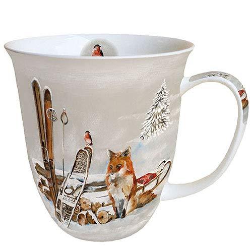 Ambiente Porzellan Tasse ca. 400ml Becher Bone China Mug Für Tee Oder Kaffee Fox And Bird Herbst Winter Weihnachten