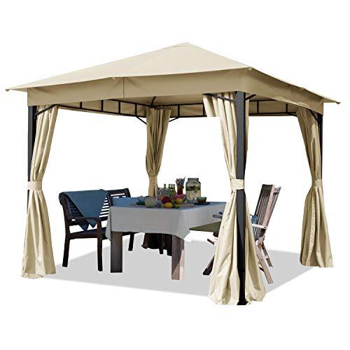 Cenador de jardín Aprox. 3x3m Aprox. 180g/m² Lona de Techo pabellón Impermeable 4 Lados Carpa de Fiesta Champaña